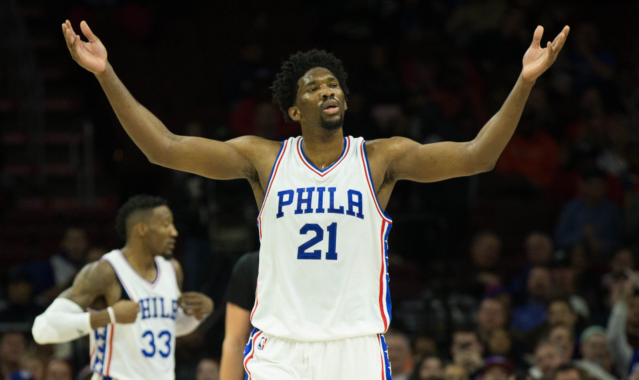 Jan 3, 2017; Philadelphia, PA, USA; Philadelphia 76ers center Joel Embiid (21) reacts after being fouled against the Minnesota Timberwolves during the second quarter at Wells Fargo Center. Mandatory Credit: Bill Streicher-USA TODAY Sports