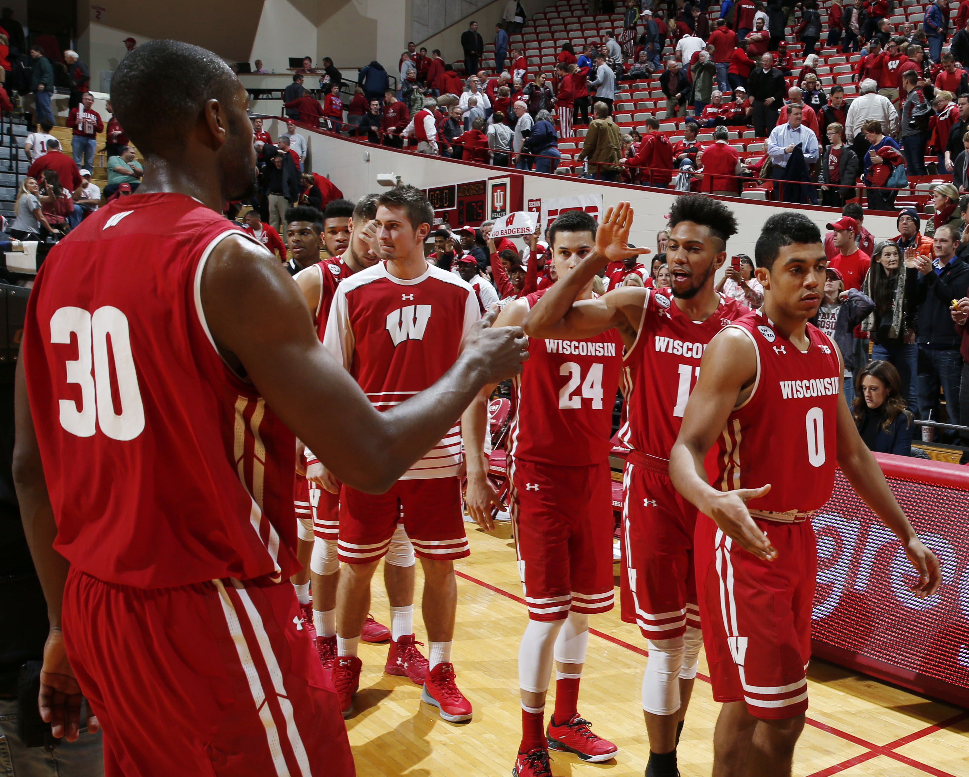 Jan 3, 2017; Bloomington, IN, USA; Wisconsin Badgers reacts after the game to defeating the Indiana Hoosiers at Assembly Hall. Wisconsin defeats Indiana 75-68. Mandatory Credit: Brian Spurlock-USA TODAY Sports