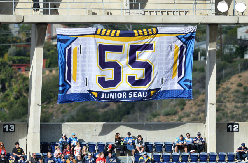 Jan 1, 2017; San Diego, CA, USA; A detailed view of the retired number of San Diego Chargers former player Junior Seau during the second quarter against the Kansas City Chiefs at Qualcomm Stadium. Mandatory Credit: Jake Roth-USA TODAY Sports