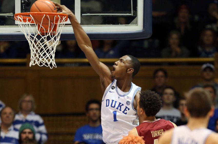 Jan 7, 2017; Durham, NC, USA; Duke Blue Devils forward Harry Giles (1) dunks the ball against Boston College Eagles during the first half of their game at Cameron Indoor Stadium. Mandatory Credit: Mark Dolejs-USA TODAY Sports