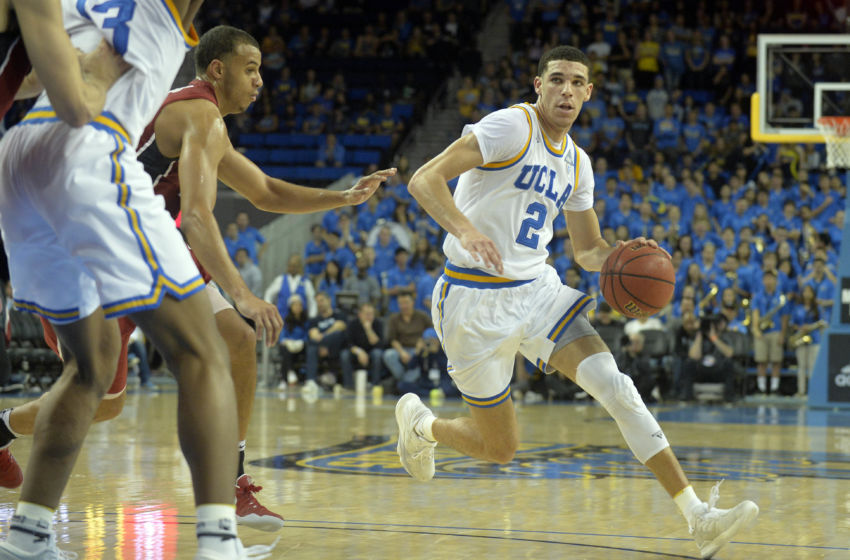 January 8, 2017; Los Angeles, CA, USA; UCLA Bruins guard Lonzo Ball (2) controls the ballagainst the Stanford Cardinal during the second half at Pauley Pavilion. Mandatory Credit: Gary A. Vasquez-USA TODAY Sports