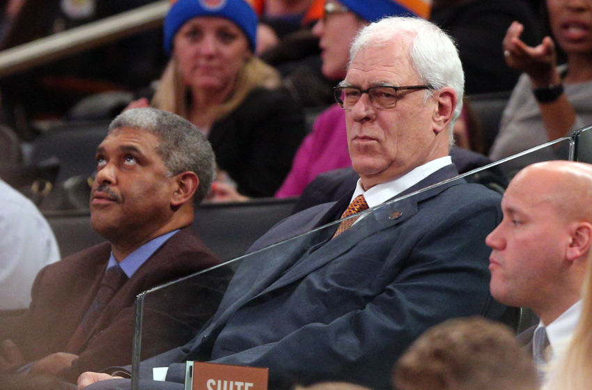 Jan 9, 2017; New York, NY, USA; New York Knicks general manager Phil Jackson watches during the fourth quarter of a game against the New Orleans Pelicans at Madison Square Garden. Mandatory Credit: Brad Penner-USA TODAY Sports