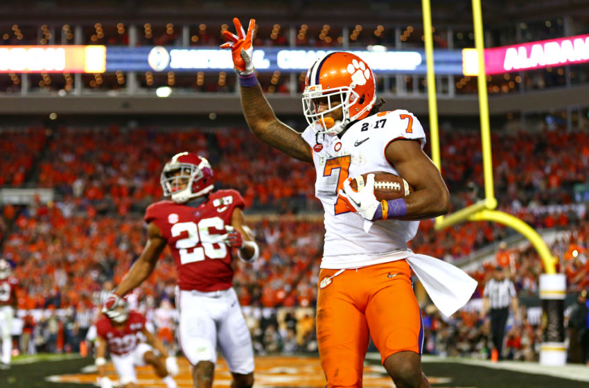 Jan 9, 2017; Tampa, FL, USA; Clemson Tigers wide receiver Mike Williams (7) catches a touchdown against Alabama Crimson Tide defensive back Marlon Humphrey (26) during the fourth quarter in the 2017 College Football Playoff National Championship Game at Raymond James Stadium. Mandatory Credit: Mark J. Rebilas-USA TODAY Sports