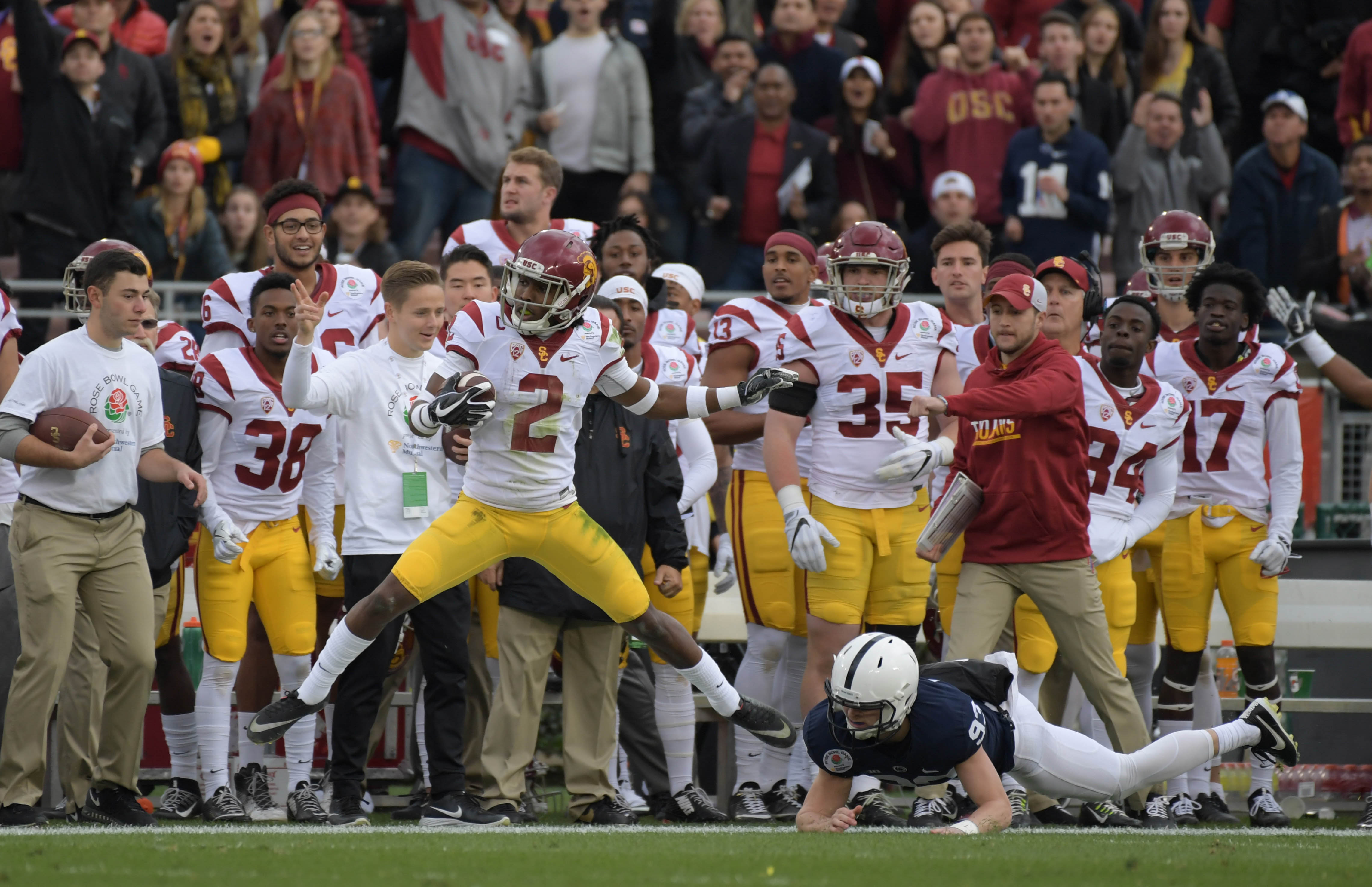 Jan 2, 2017; Pasadena, CA, USA; USC Trojans defensive back Adoree' Jackson (2) carries the ball against the Penn State Nittany Lions during the 103rd Rose Bowl at Rose Bowl. USC defeated Penn State 52-49 in the highest scoring game in Rose Bowl history. Mandatory Credit: Kirby Lee-USA TODAY Sports
