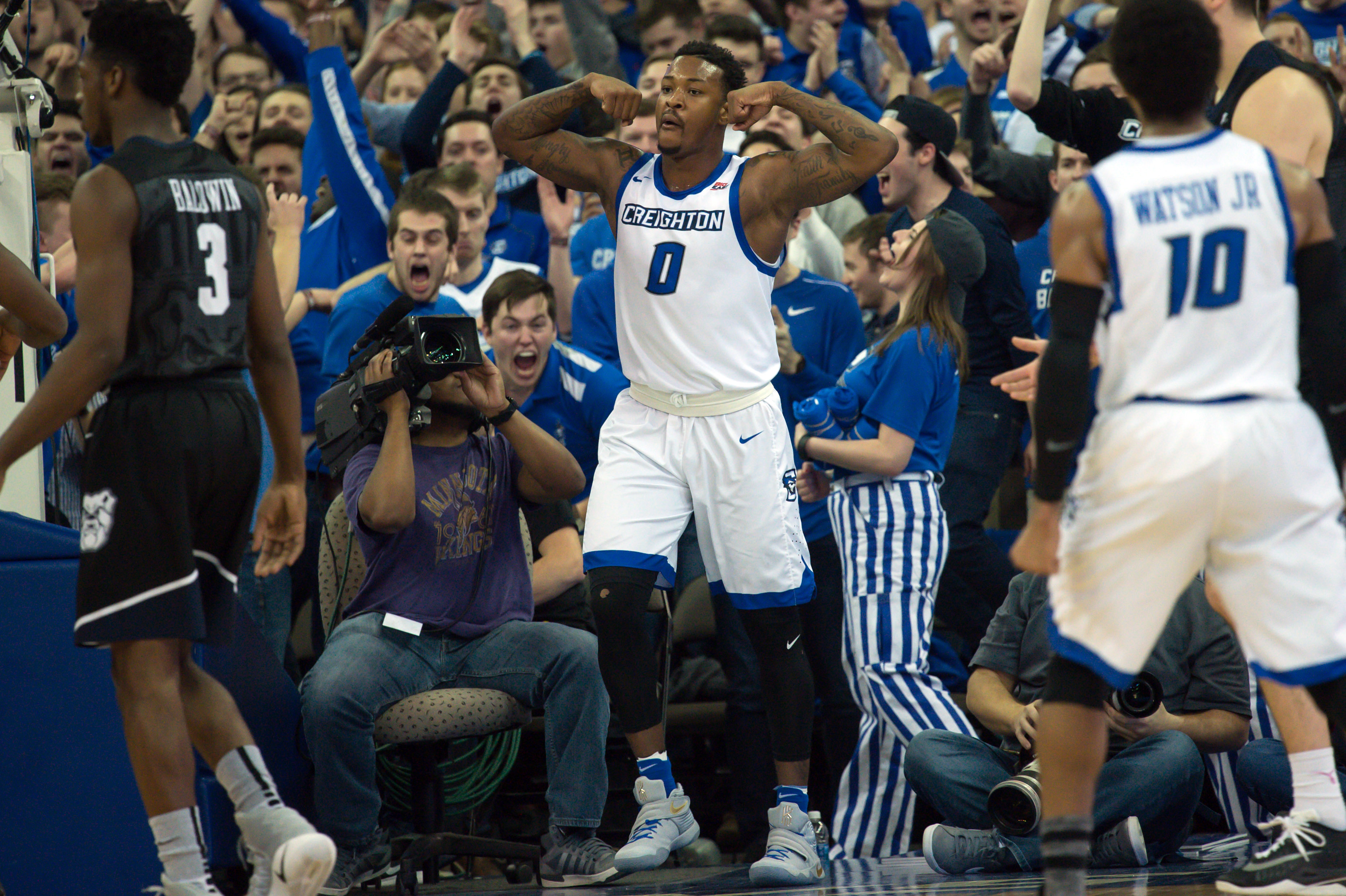 Jan 11, 2017; Omaha, NE, USA;  Creighton Bluejays guard Marcus Foster (0) reacts after scoring against the Butler Bulldogs at CenturyLink Center Omaha. Mandatory Credit: Steven Branscombe-USA TODAY Sports