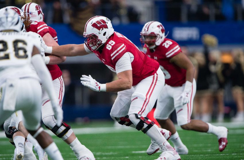 Jan 2, 2017; Arlington, TX, USA; Wisconsin Badgers offensive lineman Ryan Ramczyk (65) in action during the game against the Western Michigan Broncos in the 2017 Cotton Bowl game at AT&T Stadium. The Badgers defeat the Broncos 24-16. Mandatory Credit: Jerome Miron-USA TODAY Sports