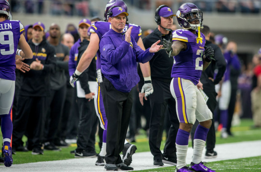 Jan 1, 2017; Minneapolis, MN, USA; Minnesota Vikings head coach Mike Zimmer celebrates a touchdown against the Chicago Bears in the second quarter at U.S. Bank Stadium. The Vikings win 38-10. Mandatory Credit: Bruce Kluckhohn-USA TODAY Sports