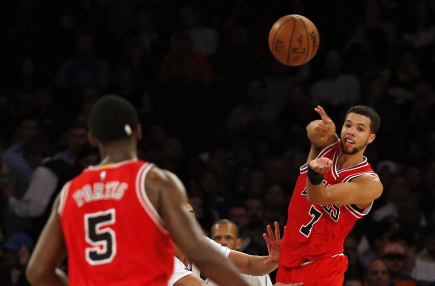 Jan 12, 2017; New York, NY, USA; Chicago Bulls guard Michael Carter-Williams (7) passes the ball during the second quarter against the New York Knicks at Madison Square Garden. Mandatory Credit: Adam Hunger-USA TODAY Sports