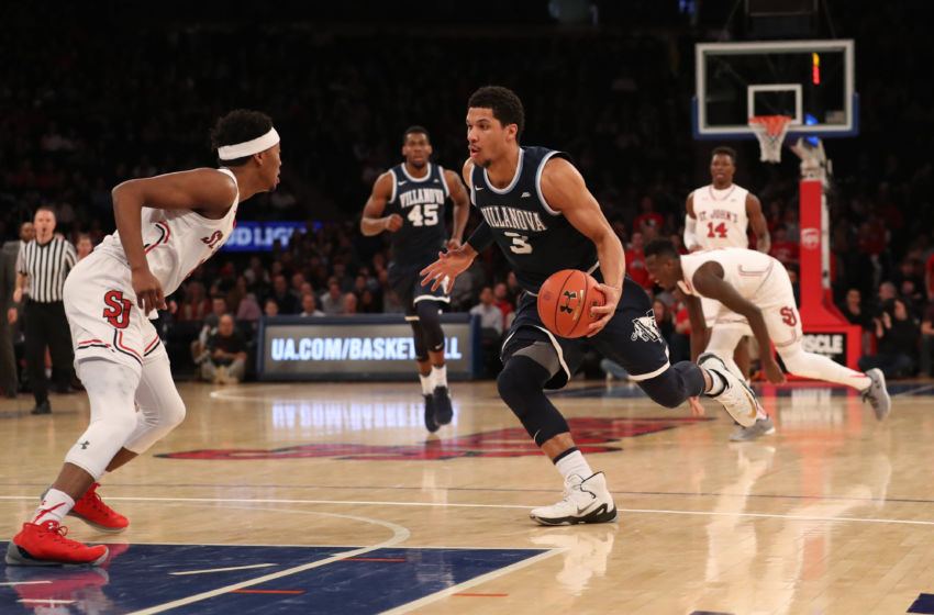 Jan 14, 2017; Queens, NY, USA; Villanova Wildcats guard Josh Hart (3) dribbles the ball during the first half against the St. John's Red Storm at Madison Square Garden. Mandatory Credit: Anthony Gruppuso-USA TODAY Sports