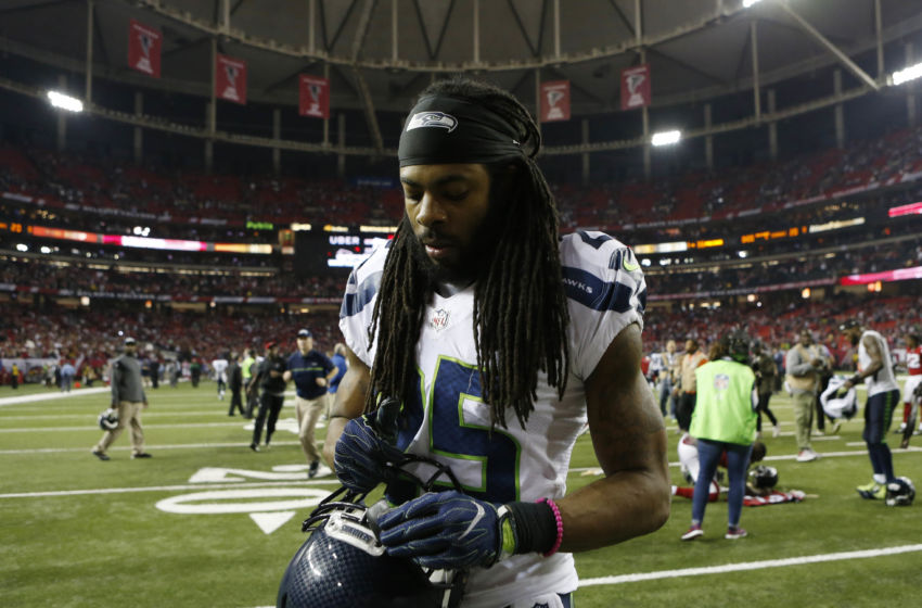 Jan 14, 2017; Atlanta, GA, USA; Seattle Seahawks cornerback Richard Sherman (25) walks off the field after losing to the Atlanta Falcons in the NFC Divisional playoff at Georgia Dome. Atlanta won 36-20. Mandatory Credit: Brett Davis-USA TODAY Sports