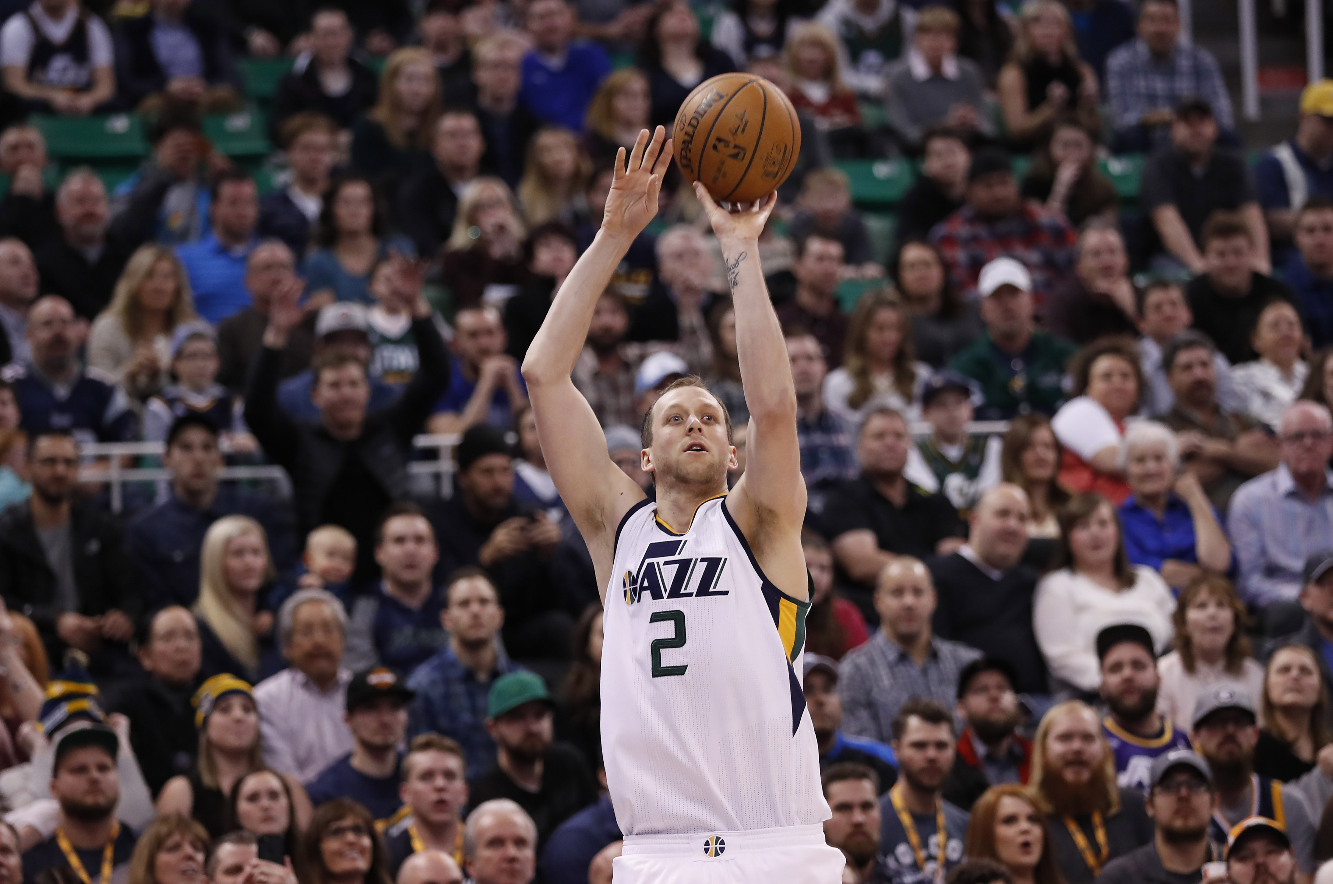 Jan 14, 2017; Salt Lake City, UT, USA; Utah Jazz forward Joe Ingles (2) shoots a three-pointer against the Orlando Magic in the fourth quarter at Vivint Smart Home Arena. The Utah Jazz defeated the Orlando Magic 114-107. Mandatory Credit: Jeff Swinger-USA TODAY Sports