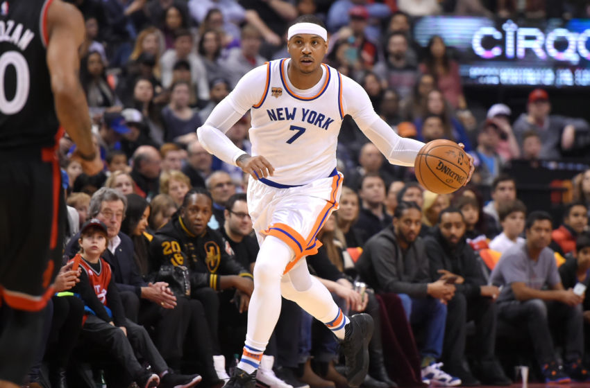 Jan 15, 2017; Toronto, Ontario, CAN; New York Knicks forward Carmelo Anthony (7) dribbles the ball up court against Toronto Raptors in the first half at Air Canada Centre. Mandatory Credit: Dan Hamilton-USA TODAY Sports
