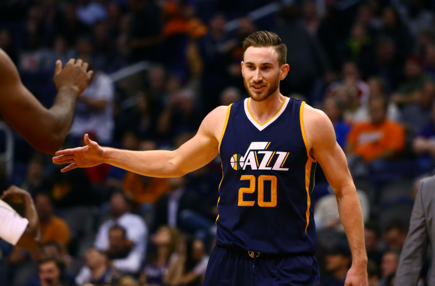 Jan 16, 2017; Phoenix, AZ, USA; Utah Jazz forward Gordon Hayward (20) celebrates in the closing seconds of the game against the Phoenix Suns at Talking Stick Resort Arena. The Jazz defeated the Suns 106-101. Mandatory Credit: Mark J. Rebilas-USA TODAY Sports