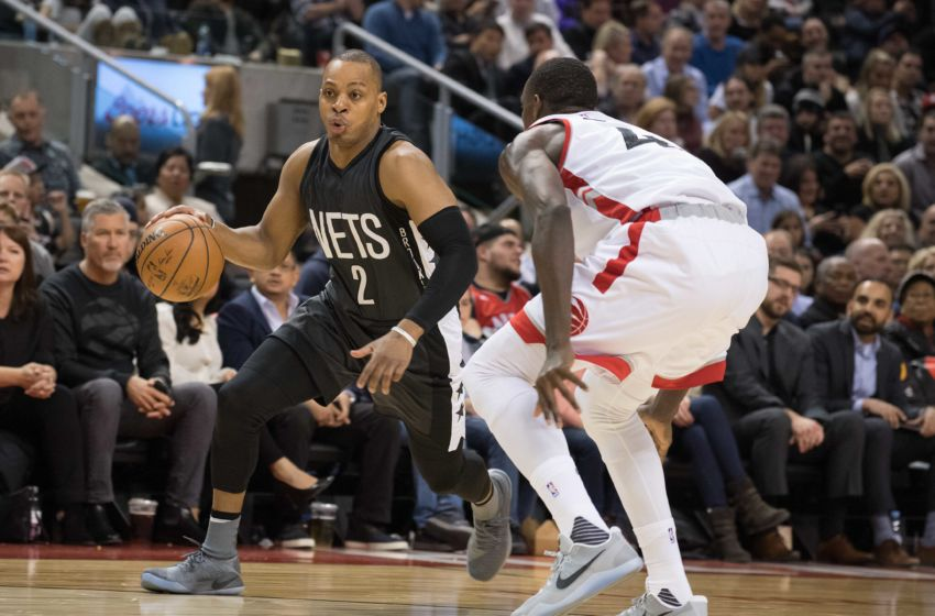 Jan 13, 2017; Toronto, Ontario, CAN; Brooklyn Nets guard Randy Foye (2) controls a ball as Toronto Raptors forward Pascal Siakam (43) defends during the third quarter in a game at Air Canada Centre.The Toronto Raptors won 132-113. Mandatory Credit: Nick Turchiaro-USA TODAY Sports