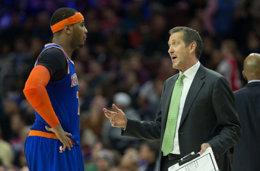 Jan 11, 2017; Philadelphia, PA, USA; New York Knicks head coach Jeff Hornacek talks with forward Carmelo Anthony (7) in a game against the Philadelphia 76ers at Wells Fargo Center. The Philadelphia 76ers won 98-97. Mandatory Credit: Bill Streicher-USA TODAY Sports