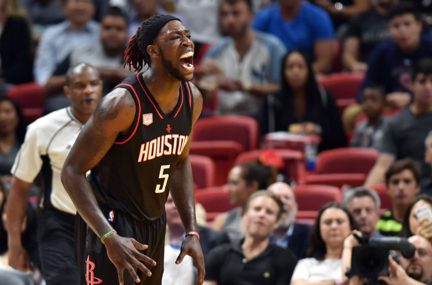 Jan 17, 2017; Miami, FL, USA; Houston Rockets forward Montrezl Harrell (5) screams out after dunking the ball against the Miami Heat during the second half at American Airlines Arena. The Heat won 109-103. Mandatory Credit: Steve Mitchell-USA TODAY Sports