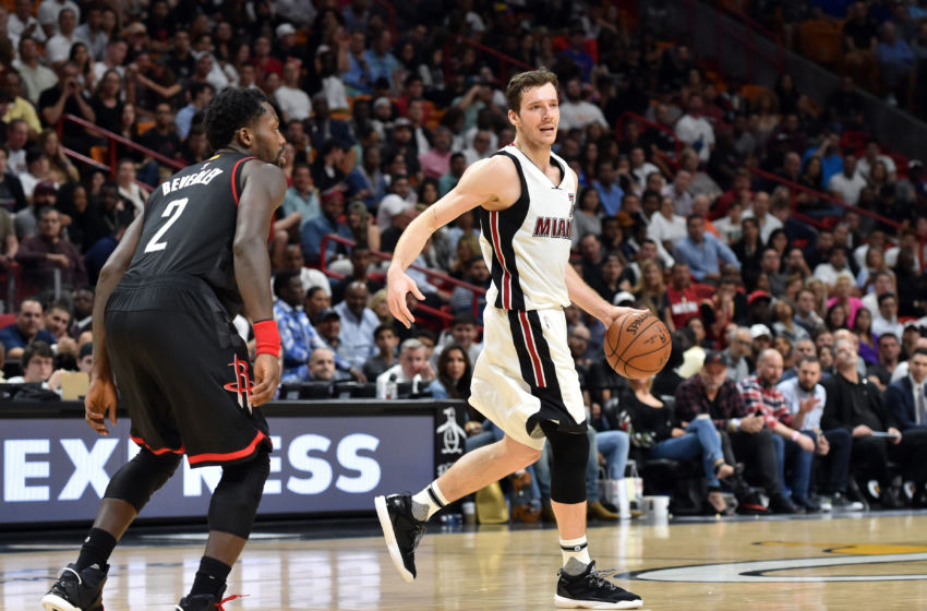 Jan 17, 2017; Miami, FL, USA; Miami Heat guard Goran Dragic (7) dribbles the ball against Houston Rockets guard Patrick Beverley (2) during the second half at American Airlines Arena. The Heat won 109-103. Mandatory Credit: Steve Mitchell-USA TODAY Sports