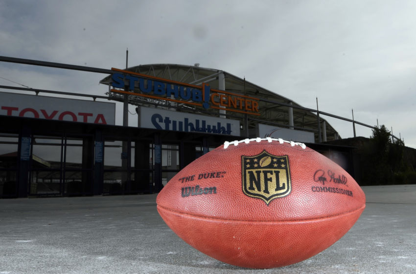 Jan 18, 2017; Carson, CA, USA; General overall view of Wilson NFL official Duke football outside of the StubHub Center. The StubHub center will be the temporary home of the Los Angeles Chargers for the 2017 and 2018 seasons as part of Chargers owner Dean Spanos relocation of the franchise from San Diego. Mandatory Credit: Kirby Lee-USA TODAY Sports