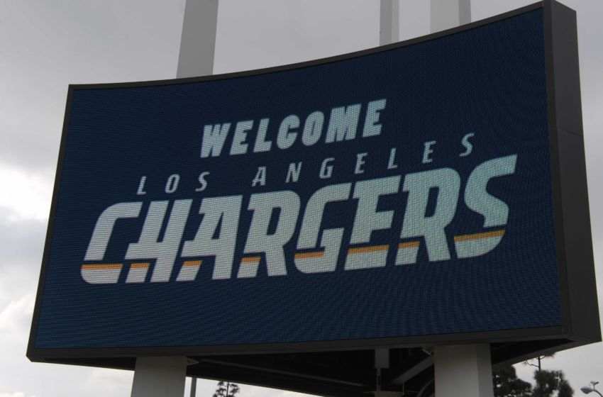 "Jan 18, 2017; Inglewood, CA, USA; General overall view of a ""Welcome Los Angeles Chargers"" sign on the marquee outside of The Forum during prior to the Los Angeles Chargers Kickoff Ceremony. Mandatory Credit: Kirby Lee-USA TODAY Sports"