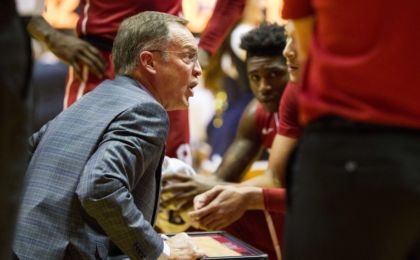 Jan 18, 2017; Morgantown, WV, USA; Oklahoma Sooners head coach Lon Kruger talks to his team during a timeout during the first half against the West Virginia Mountaineers at WVU Coliseum. Mandatory Credit: Ben Queen-USA TODAY Sports
