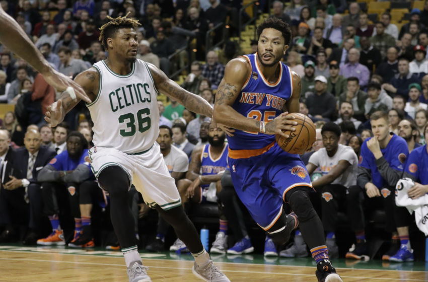 Jan 18, 2017; Boston, MA, USA; New York Knicks guard Derrick Rose (25) drives the ball against Boston Celtics guard Marcus Smart (36) in the first quarter at TD Garden. Mandatory Credit: David Butler II-USA TODAY Sports