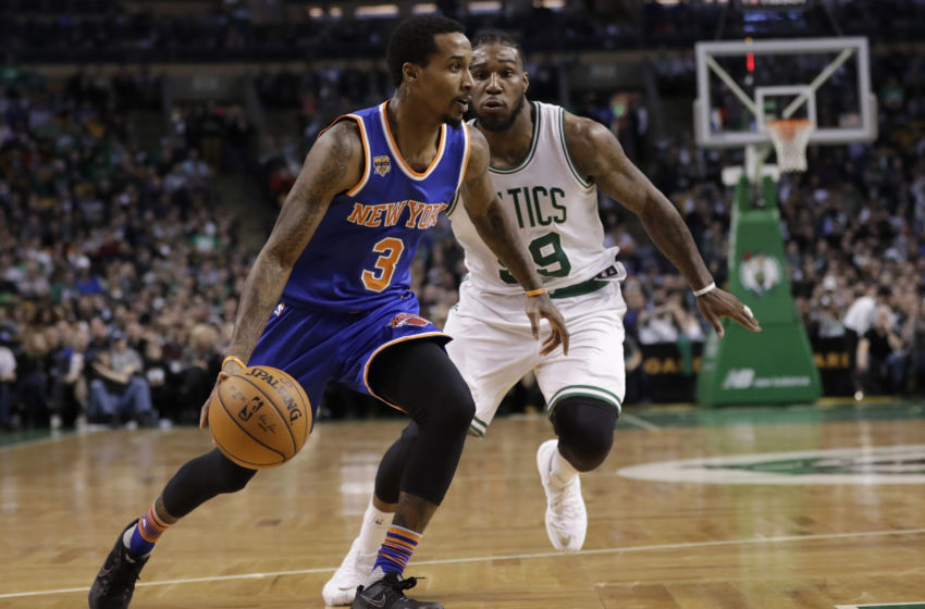 Jan 18, 2017; Boston, MA, USA; New York Knicks guard Brandon Jennings (3) drives the ball against Boston Celtics forward Jae Crowder (99) in the first quarter at TD Garden. Mandatory Credit: David Butler II-USA TODAY Sports