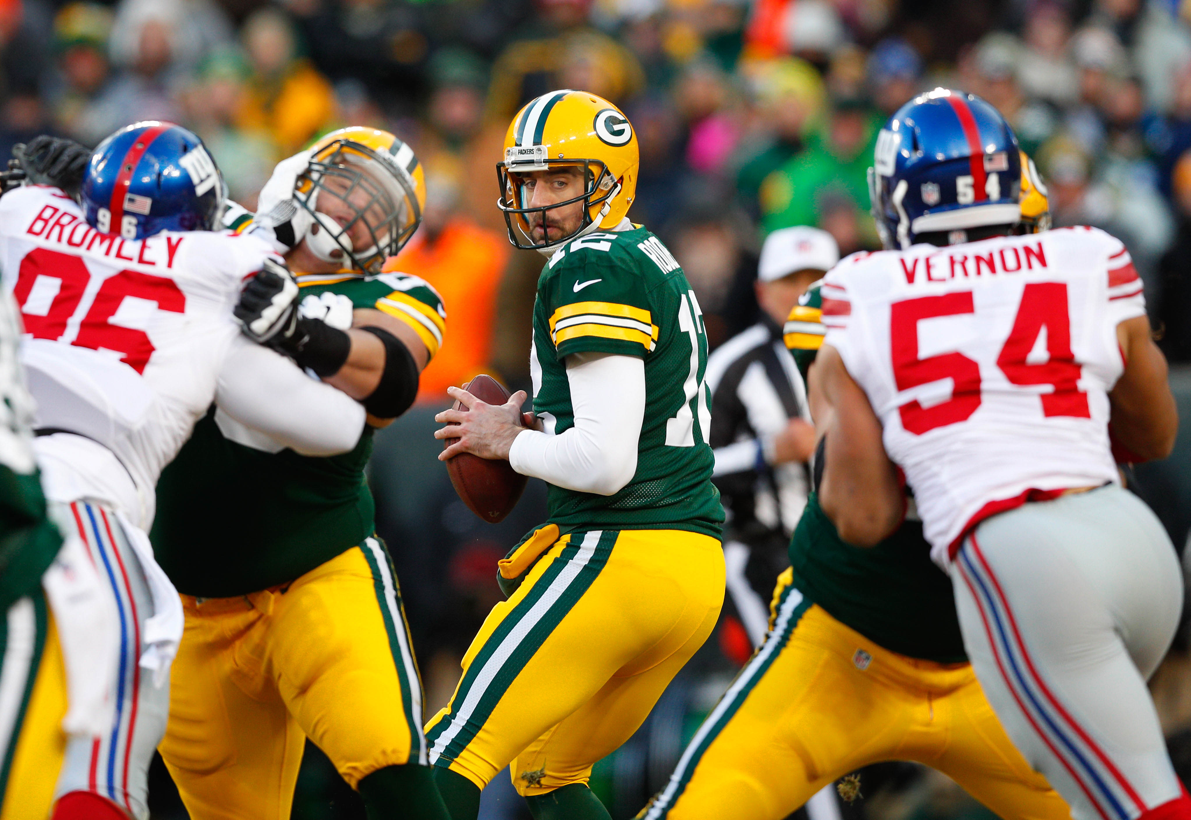 Jan 8, 2017; Green Bay, WI, USA; Green Bay Packers quarterback Aaron Rodgers (12) during the game against the New York Giants at Lambeau Field. Mandatory Credit: Jeff Hanisch-USA TODAY Sports