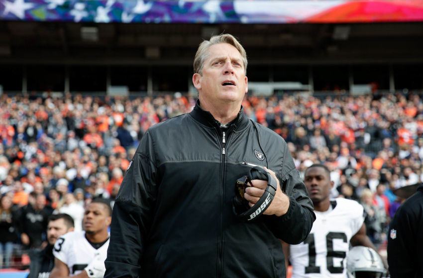 Jan 1, 2017; Denver, CO, USA; Oakland Raiders head coach Jack Del Rio before the game against the Denver Broncos at Sports Authority Field at Mile High. Mandatory Credit: Isaiah J. Downing-USA TODAY Sports