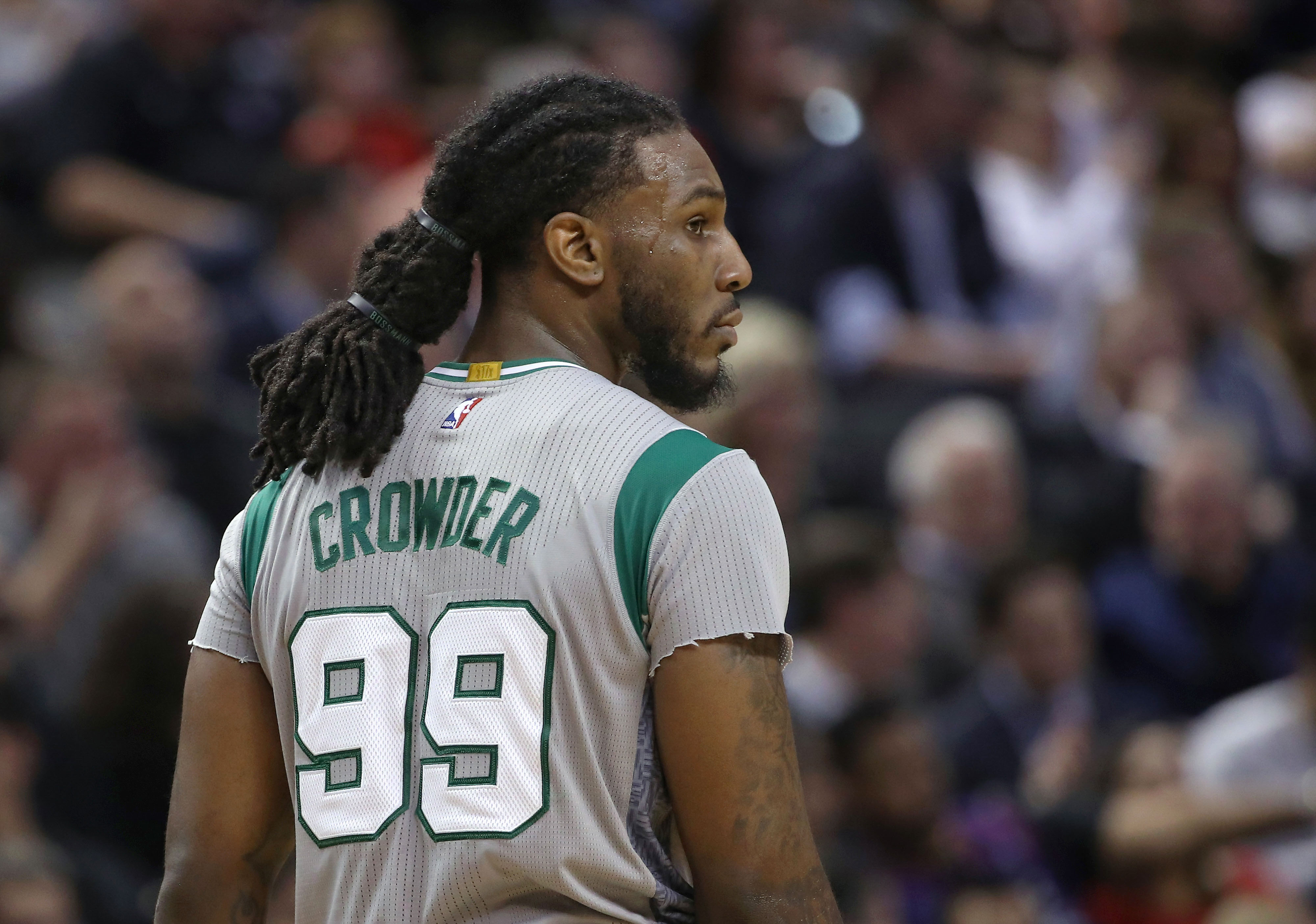 Jan 10, 2017; Toronto, Ontario, CAN; Boston Celtics forward Jae Crowder (99) during their game against the Toronto Raptors at Air Canada Centre. The Raptors beat the Celtics 114-106. Mandatory Credit: Tom Szczerbowski-USA TODAY Sports