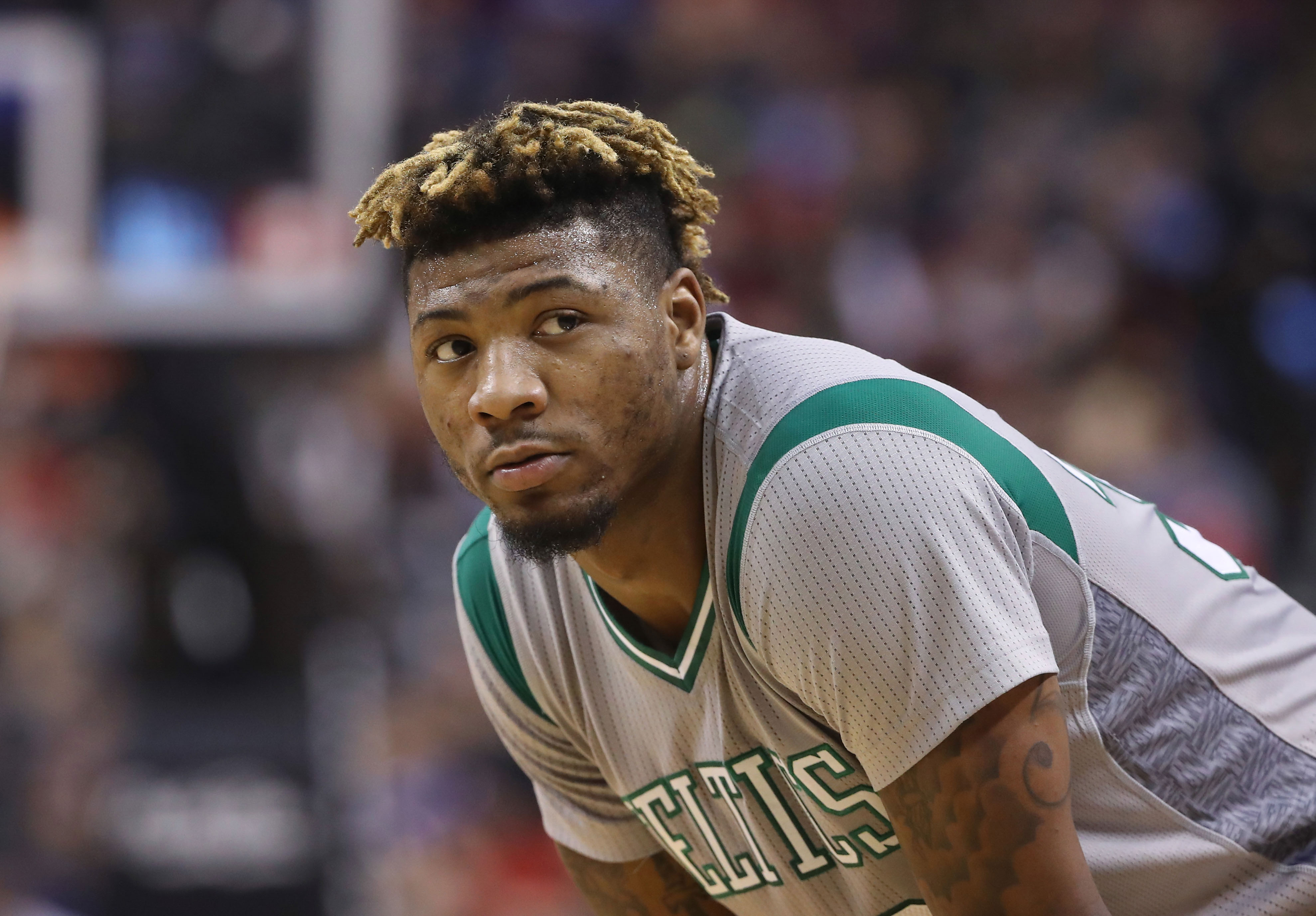 Jan 10, 2017; Toronto, Ontario, CAN; Boston Celtics point guard Marcus Smart (36) looks on against the Toronto Raptors at Air Canada Centre. The Raptors beat the Celtics 114-106. Mandatory Credit: Tom Szczerbowski-USA TODAY Sports