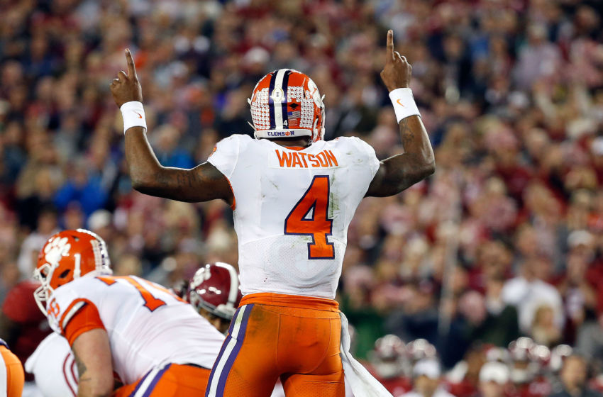 Jan 9, 2017; Tampa, FL, USA; Clemson Tigers quarterback Deshaun Watson (4) calls a play against the Alabama Crimson Tide in the 2017 College Football Playoff National Championship Game at Raymond James Stadium. Mandatory Credit: Kim Klement-USA TODAY Sports