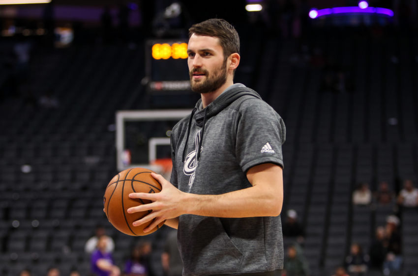 Jan 13, 2017; Sacramento, CA, USA; Cleveland Cavaliers forward Kevin Love (0) warms up before the game against the Sacramento Kings at Golden 1 Center. The Cavaliers defeated the Kings 120-108. Mandatory Credit: Sergio Estrada-USA TODAY Sports