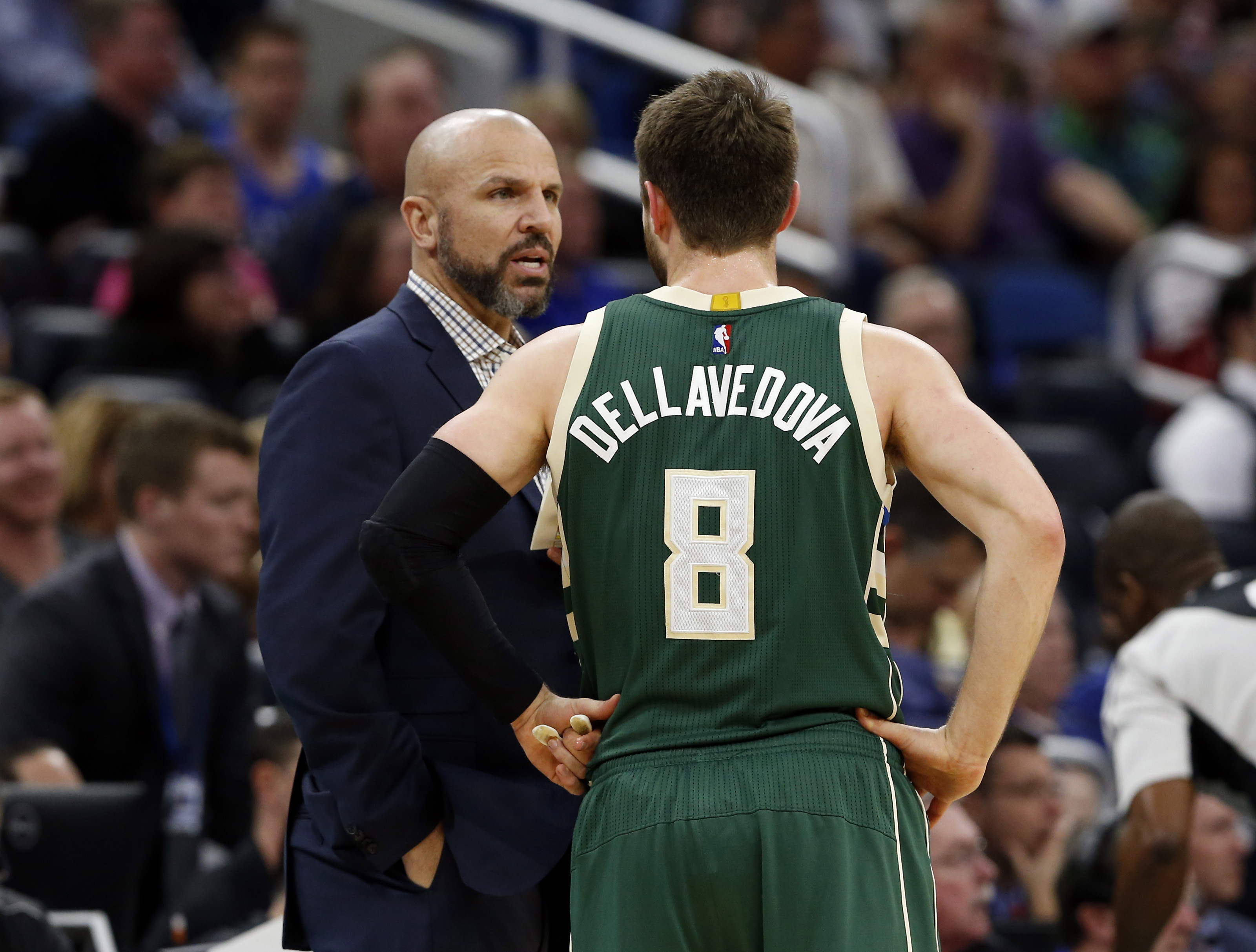 Jan 20, 2017; Orlando, FL, USA; Milwaukee Bucks head coach Jason Kidd talks with guard Matthew Dellavedova (8) against the Orlando Magic during the first half at Amway Center. Mandatory Credit: Kim Klement-USA TODAY Sports