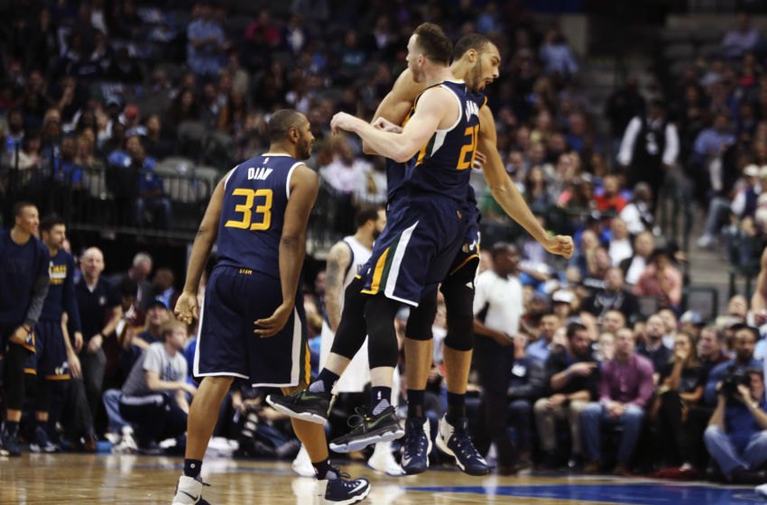 Jan 20, 2017; Dallas, TX, USA; Utah Jazz forward Gordon Hayward (20) and center Rudy Gobert (back) celebrate during the second half against the Dallas Mavericks at American Airlines Center. Mandatory Credit: Kevin Jairaj-USA TODAY Sports