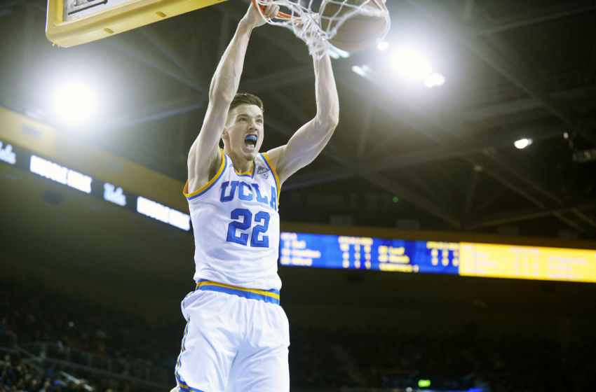 January 21, 2017; Los Angeles, CA, USA; UCLA Bruins forward TJ Leaf (22) dunks to score a basket against the Arizona Wildcats during the second half at Pauley Pavilion. Mandatory Credit: Gary A. Vasquez-USA TODAY Sports