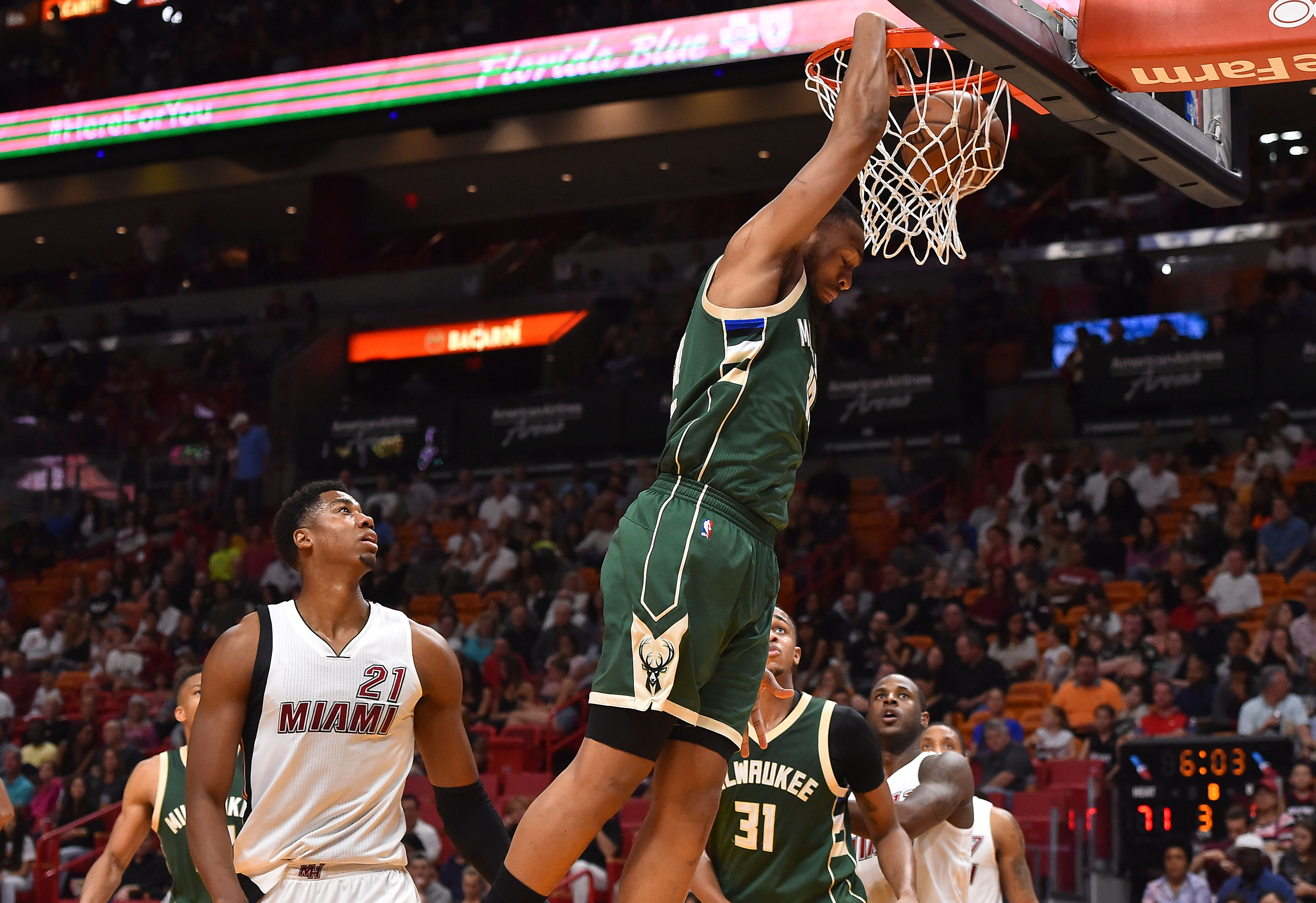 Jan 21, 2017; Miami, FL, USA; Milwaukee Bucks forward Jabari Parker (12) dunks the ball against the Miami Heat during the second half at American Airlines Arena. The Miami Heat defeat the Milwaukee Bucks 109-97. Mandatory Credit: Jasen Vinlove-USA TODAY Sports