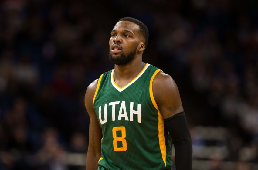Jan 7, 2017; Minneapolis, MN, USA; Utah Jazz guard Shelvin Mack (8) during a game between the Minnesota Timberwolves and Utah Jazz at Target Center. The Jazz defeated the Timberwolves 94-92. Mandatory Credit: Brace Hemmelgarn-USA TODAY Sports