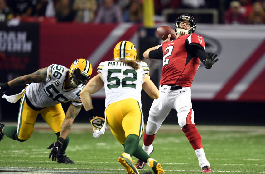 Jan 22, 2017; Atlanta, GA, USA; Atlanta Falcons quarterback Matt Ryan (2) throws against Green Bay Packers outside linebacker Clay Matthews (52) during the second quarter in the 2017 NFC Championship Game at the Georgia Dome. John David Mercer-USA TODAY Sports
