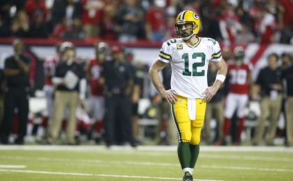 Jan 22, 2017; Atlanta, GA, USA; Green Bay Packers quarterback Aaron Rodgers (12) reacts during the fourth quarter against the Atlanta Falcons in the 2017 NFC Championship Game at the Georgia Dome. Mandatory Credit: Brett Davis-USA TODAY Sports