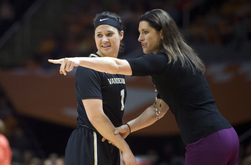 Jan 22, 2017; Knoxville, TN; Vanderbilt head coach Stephanie White talks with Commodores guard Rebekah Dahlman (1) during the game against against the Tennessee Lady Volunteers. Tennessee defeated Vanderbilt, 91-63. Mandatory Credit: Saul Young/Knoxville News Sentinel via USA TODAY NETWORK