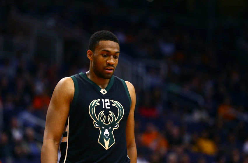 Dec 20, 2015; Phoenix, AZ, USA; Milwaukee Bucks forward Jabari Parker (12) against the Phoenix Suns at Talking Stick Resort Arena. The Bucks defeated the Suns 101-95. Mandatory Credit: Mark J. Rebilas-USA TODAY Sports