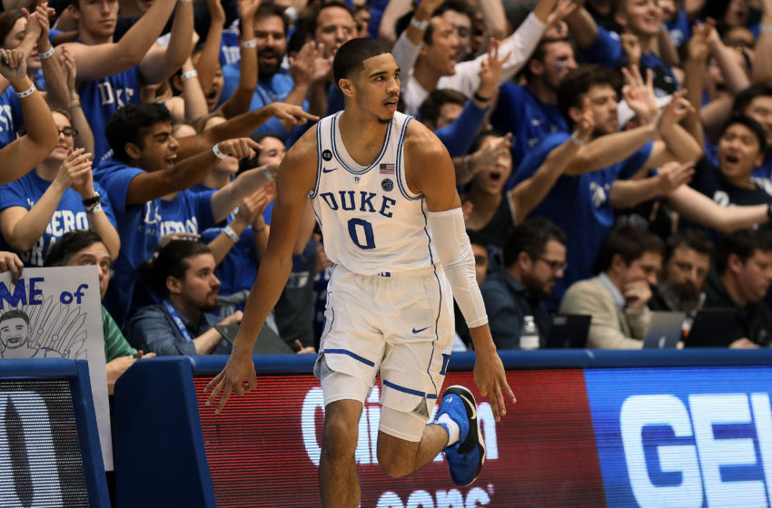 Jan 23, 2017; Durham, NC, USA; Duke Blue Devils forward Jayson Tatum (0) reacts after making a three point shot against the North Carolina State Wolfpack in the first half at Cameron Indoor Stadium. Mandatory Credit: Mark Dolejs-USA TODAY Sports