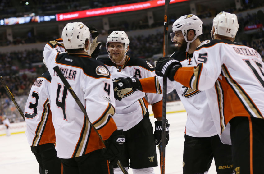 Vegas Golden Knights: Anaheim Ducks center Ryan Getzlaf (15) celebrates his goal with teammates Corey Perry (10) , Ryan Kesler (17) and Cam Fowler (4) during the third period against the Winnipeg Jets at MTS Centre. Anaheim wins 3-2. Mandatory Credit: Bruce Fedyck-USA TODAY Sports