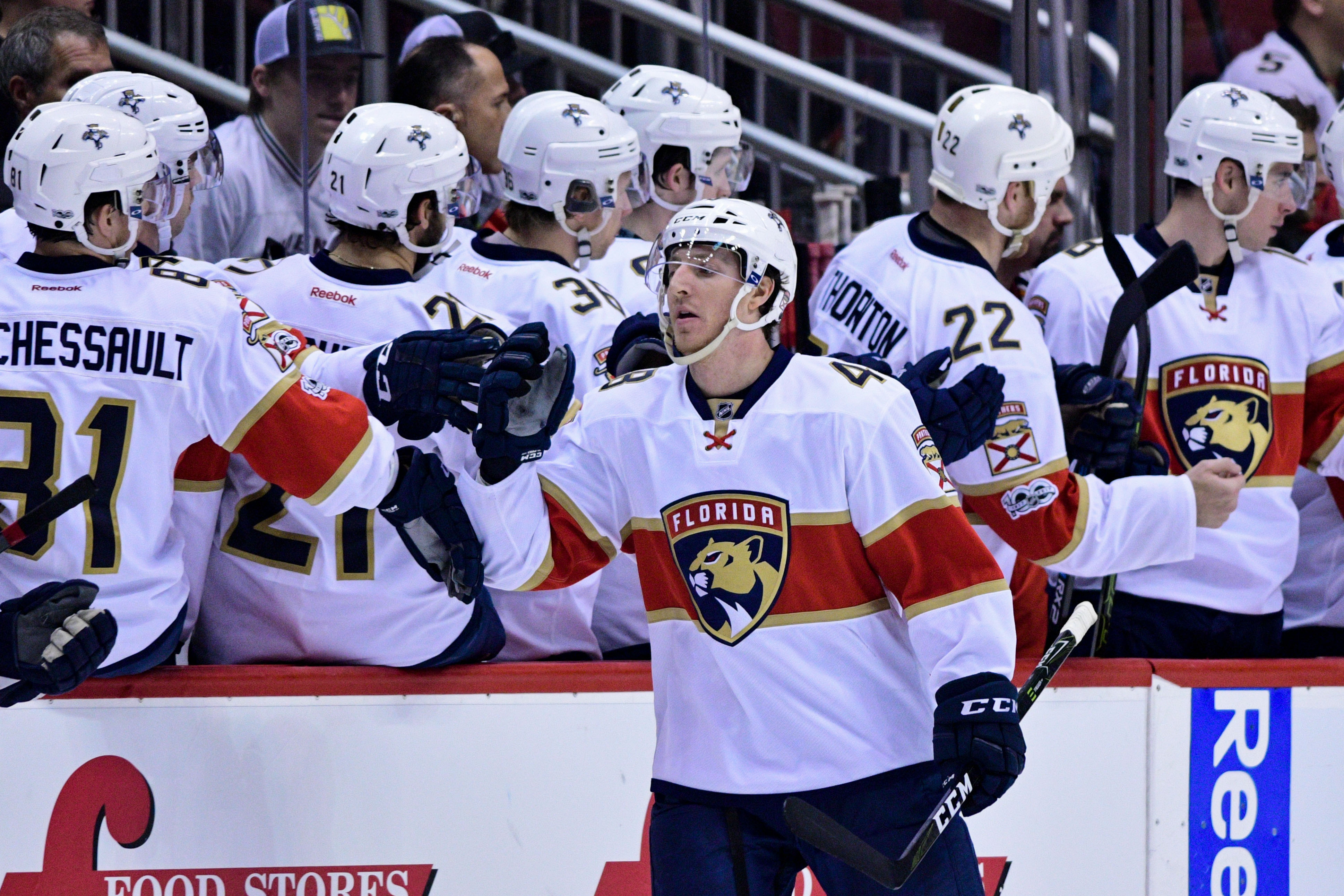 new products b9592 6c39f NHL Power Rankings  Florida Panthers center Michael Sgarbossa (48)  celebrates with teammates after