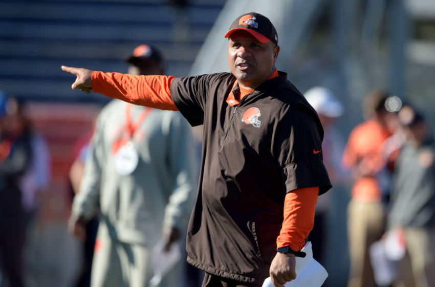 Jan 24, 2017; Mobile, AL, USA; South squad head coach Hue Jackson of the Cleveland Browns directs his players during practice at Ladd-Peebles Stadium. Mandatory Credit: Glenn Andrews-USA TODAY Sports