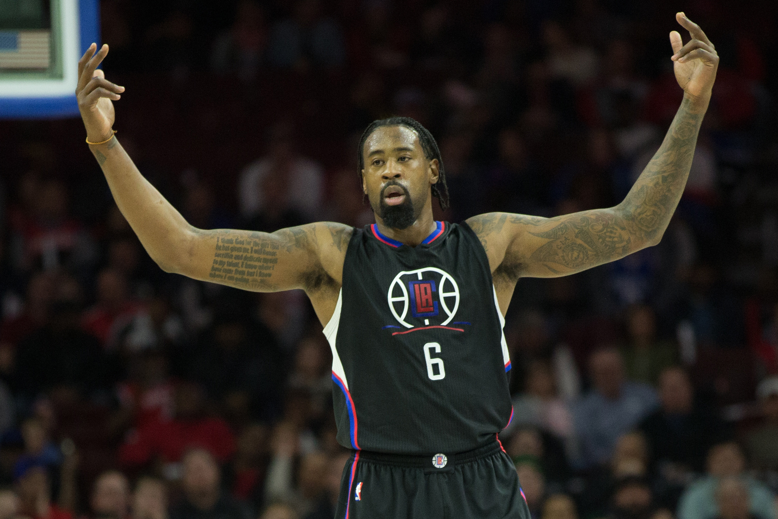 Jan 24, 2017; Philadelphia, PA, USA; LA Clippers center DeAndre Jordan (6) reacts after a score against the Philadelphia 76ers during the first quarter at Wells Fargo Center. Mandatory Credit: Bill Streicher-USA TODAY Sports