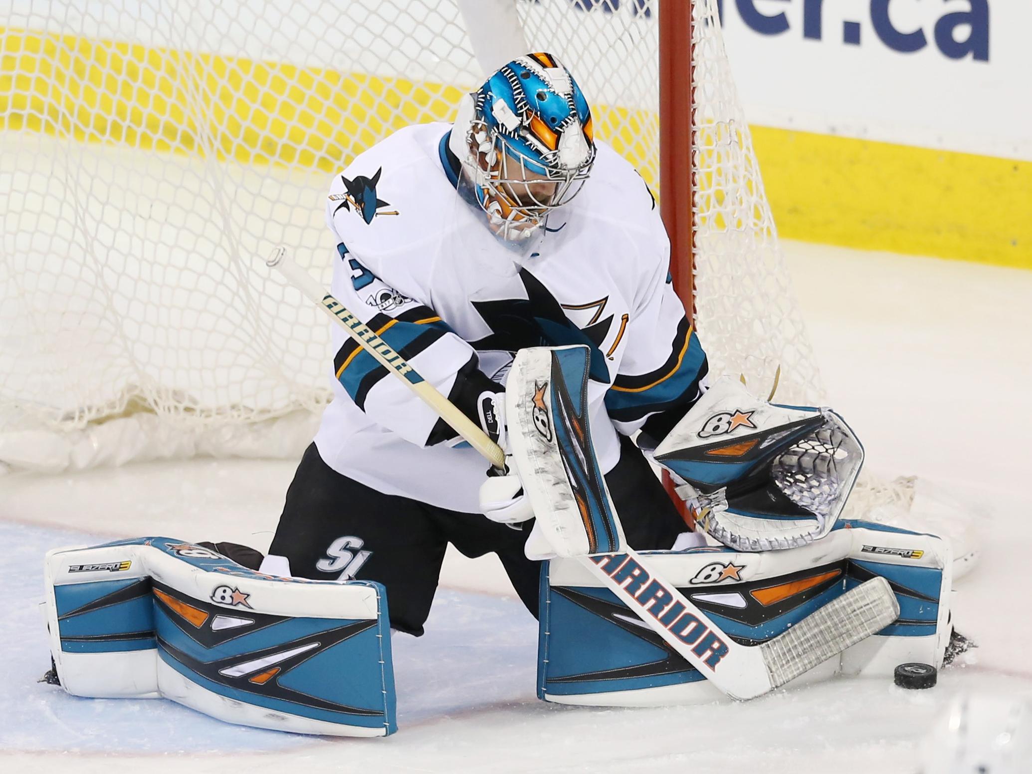695bb2d06ed NHL Power Rankings: San Jose Sharks goalie Aaron Dell (30) makes a save