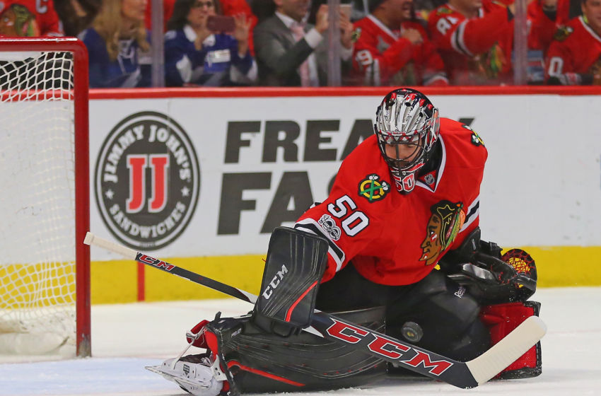 Vegas Golden Knights: Chicago Blackhawks goalie Corey Crawford (50) makes a save during the second period against the Tampa Bay Lightning at the United Center. Mandatory Credit: Dennis Wierzbicki-USA TODAY Sports