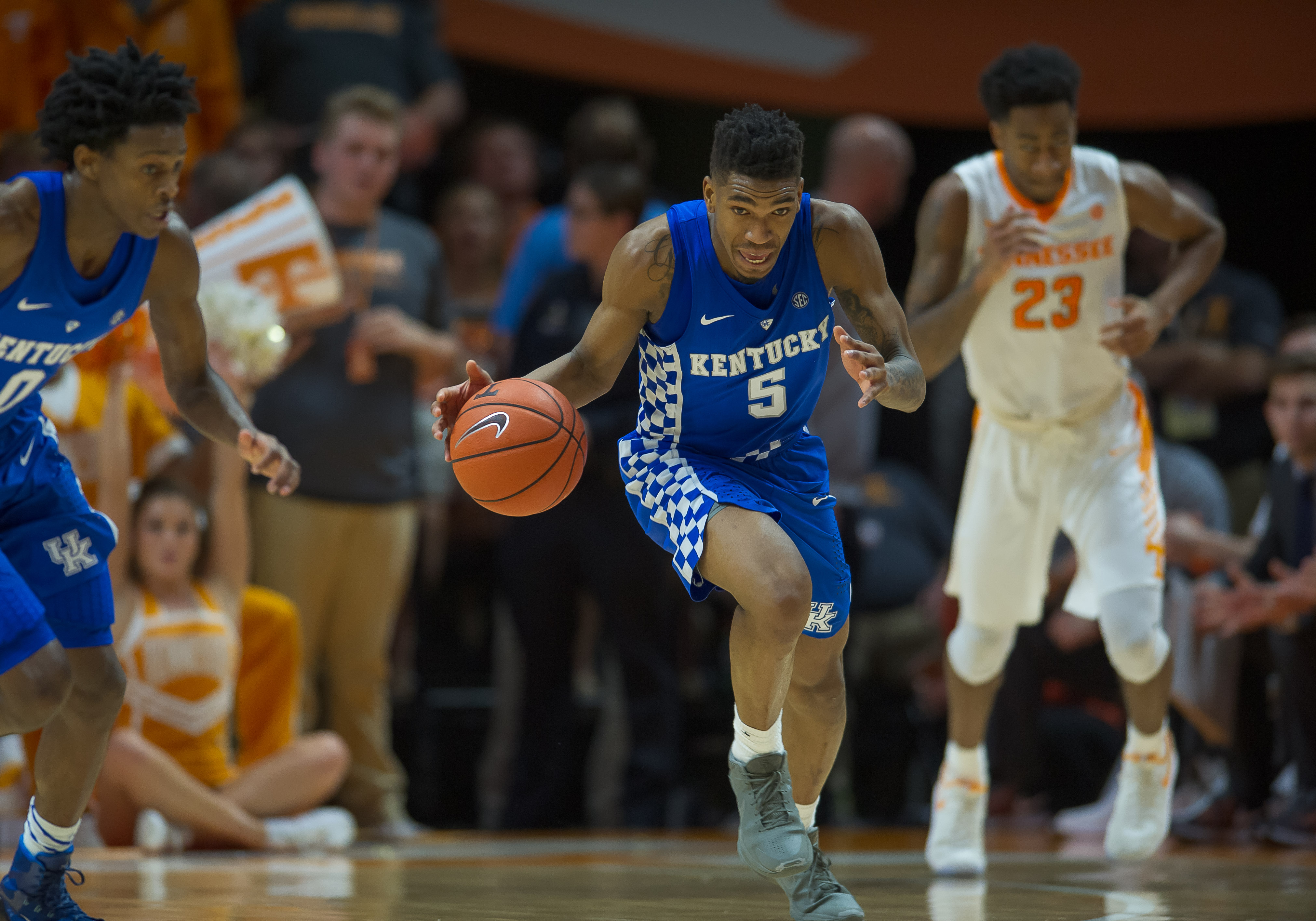 Jan 24, 2017; Knoxville, TN, USA; Kentucky Wildcats guard Malik Monk (5) dribbles the ball in the second half against the Tennessee Volunteers at Thompson-Boling Arena. The Volunteers won 82-80. Mandatory Credit: Bryan Lynn-USA TODAY Sports