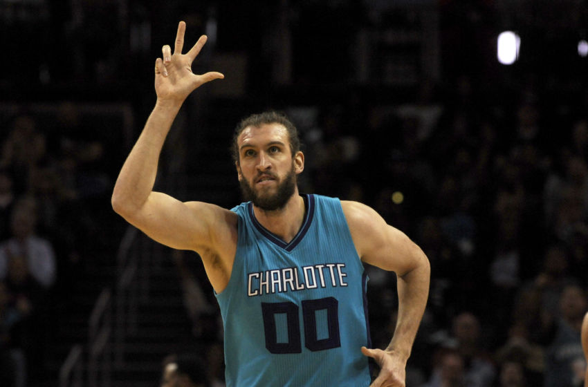 Jan 25, 2017; Charlotte, NC, USA; Charlotte Hornets forward center Spencer Hawes (00) reacts after scoring during the first half of the game against the Golden State Warriors at the Spectrum Center. Mandatory Credit: Sam Sharpe-USA TODAY Sports